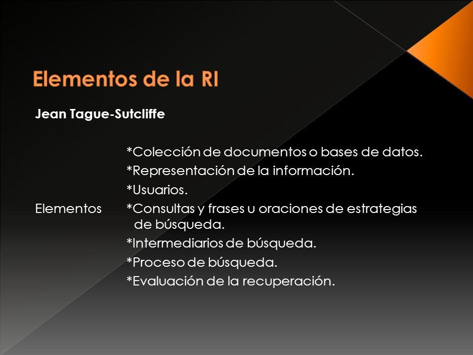 Jean Tague-Sutcliffe *Colección de documentos o bases de datos.