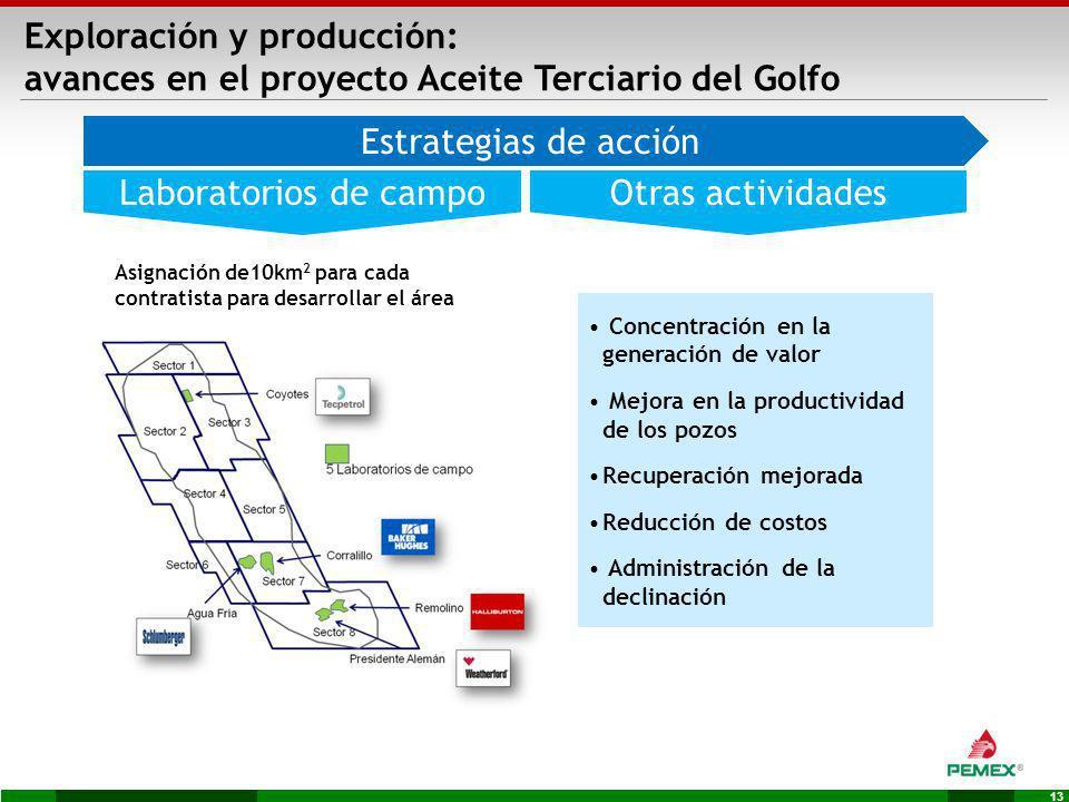 13 Otras actividadesLaboratorios de campo Concentración en la generación de valor Mejora en la productividad de los pozos Recuperación mejorada Reducc