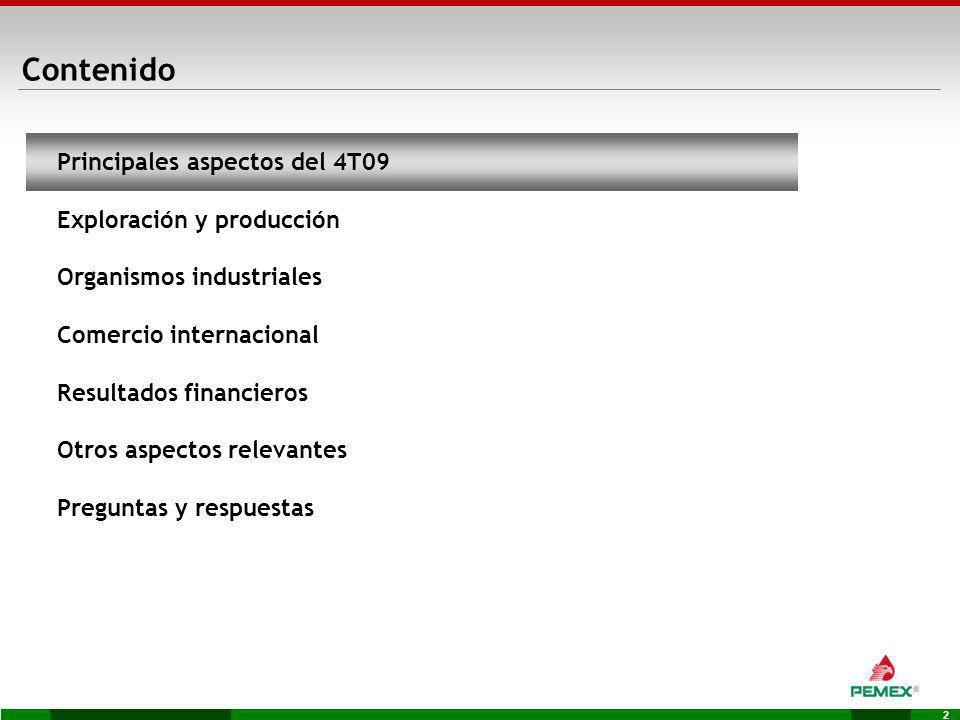 2 Contenido Principales aspectos del 4T09 Exploración y producción Organismos industriales Comercio internacional Resultados financieros Otros aspecto
