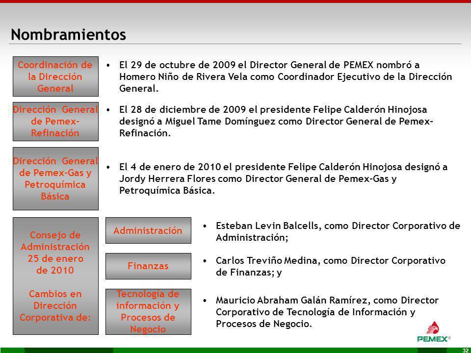 32 El 4 de enero de 2010 el presidente Felipe Calderón Hinojosa designó a Jordy Herrera Flores como Director General de Pemex-Gas y Petroquímica Básic