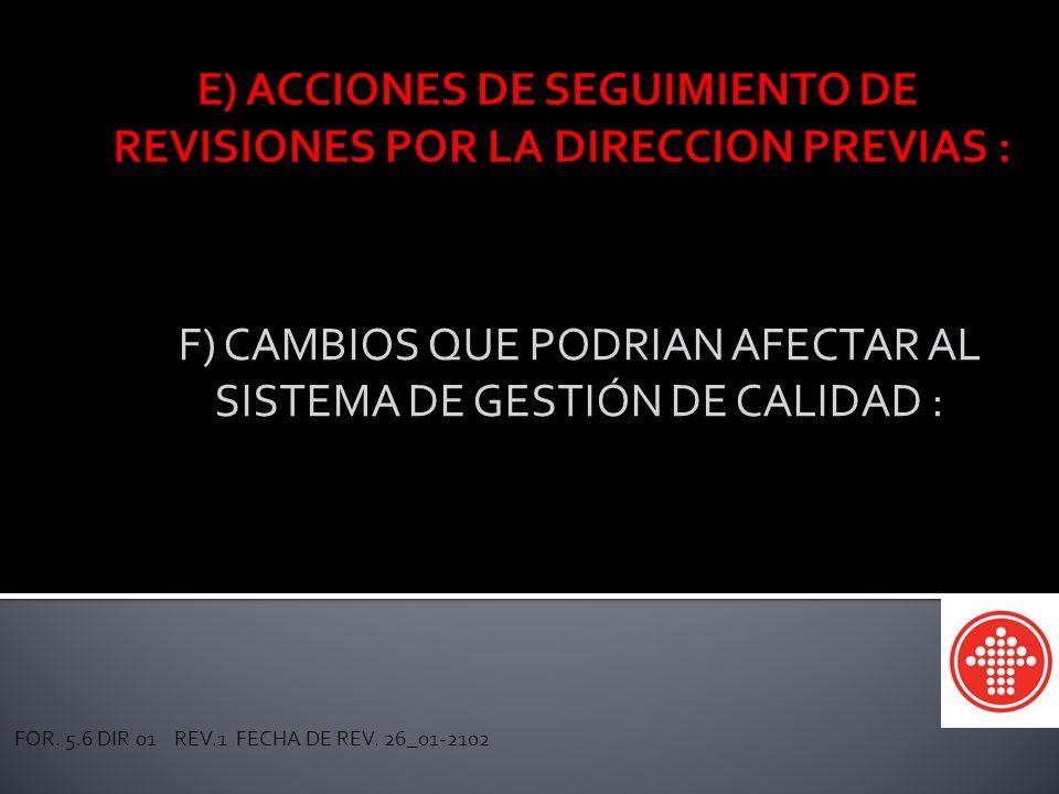 CAJA MAGISTERIAL DE AHORROS Y PRESTAMOS SEC. 54 SNTE F) CAMBIOS QUE PODRIAN AFECTAR AL SISTEMA DE GESTIÓN DE CALIDAD : FOR. 5.6 DIR 01 REV.1 FECHA DE