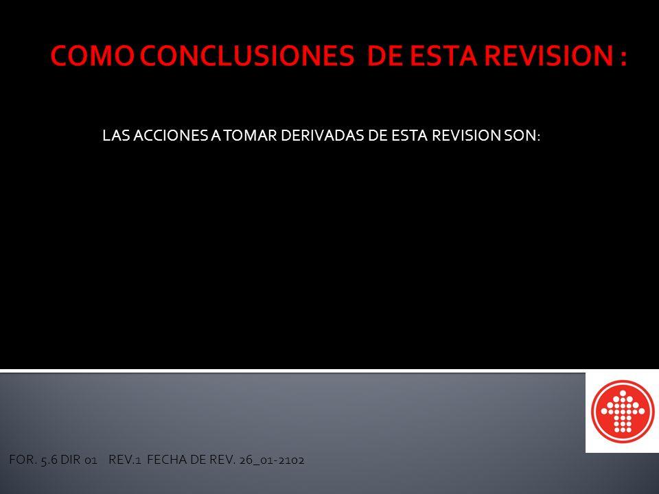 CAJA MAGISTERIAL DE AHORROS Y PRESTAMOS SEC. 54 SNTE LAS ACCIONES A TOMAR DERIVADAS DE ESTA REVISION SON: FOR. 5.6 DIR 01 REV.1 FECHA DE REV. 26_01-21