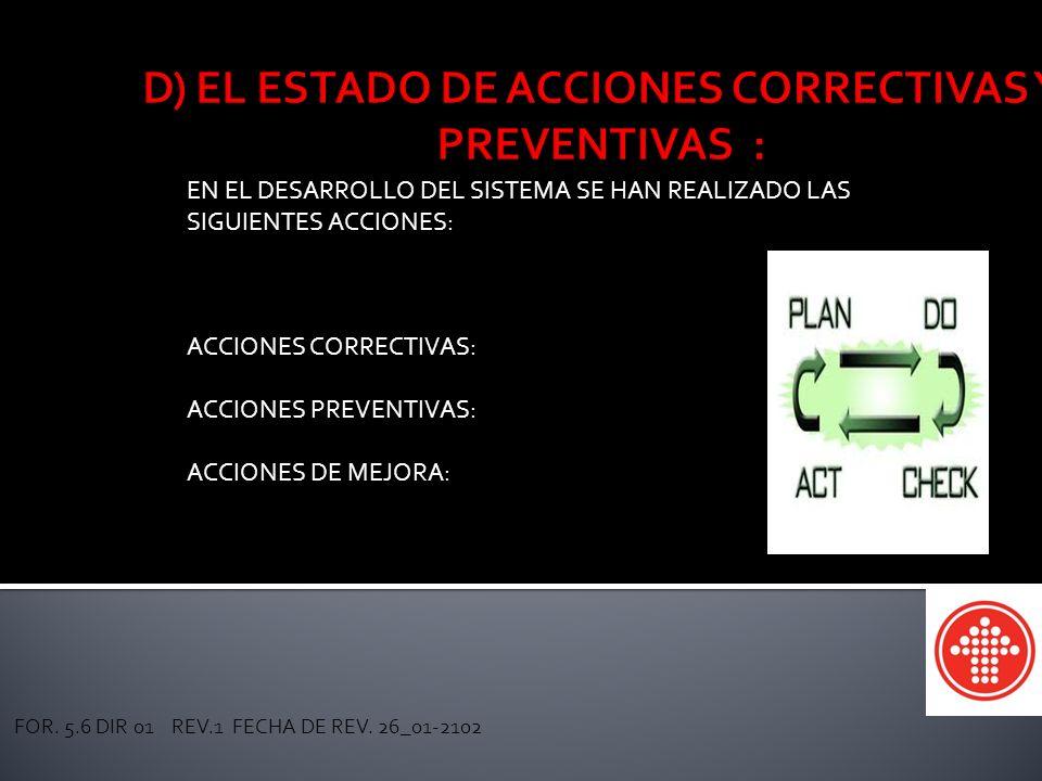 CAJA MAGISTERIAL DE AHORROS Y PRESTAMOS SEC. 54 SNTE EN EL DESARROLLO DEL SISTEMA SE HAN REALIZADO LAS SIGUIENTES ACCIONES: ACCIONES CORRECTIVAS: ACCI
