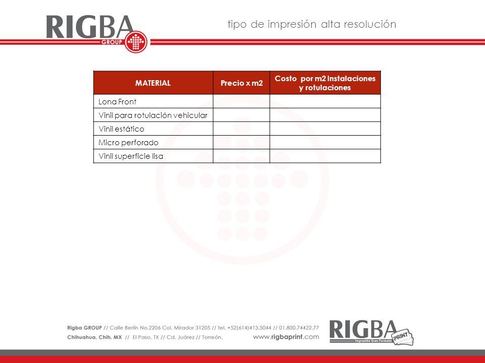 MATERIALPrecio x m2 Costo por m2 Instalaciones y rotulaciones Vinil de corte colores básicos ( NO REFLECTIVOS )
