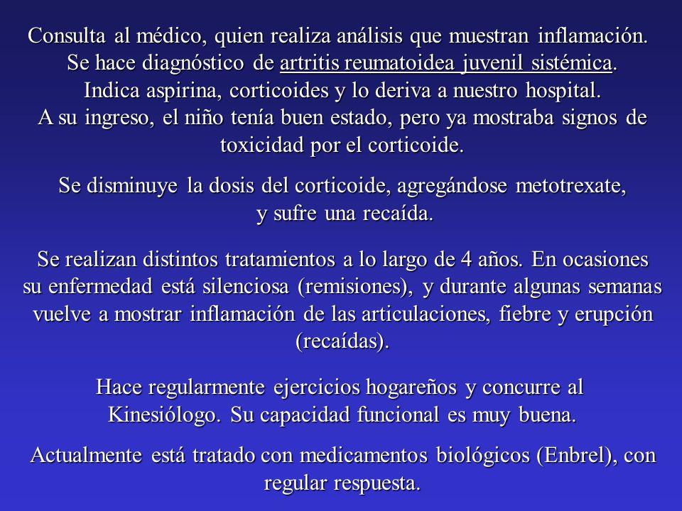 Consulta al médico, quien realiza análisis que muestran inflamación. Se hace diagnóstico de artritis reumatoidea juvenil sistémica. Indica aspirina, c