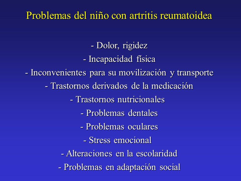 Problemas del niño con artritis reumatoidea - Dolor, rigidez - Incapacidad física - Inconvenientes para su movilización y transporte - Trastornos deri
