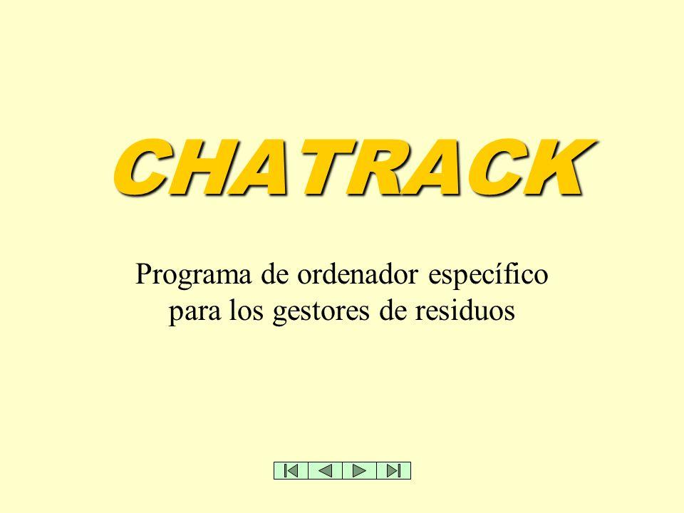 CHATRACK Programa de ordenador específico para los gestores de residuos