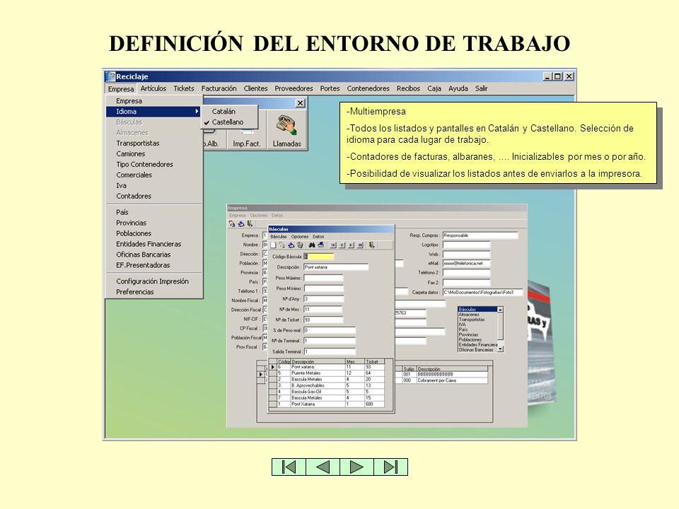DEFINICIÓN DEL ENTORNO DE TRABAJO -Multiempresa -Todos los listados y pantalles en Catalán y Castellano. Selección de idioma para cada lugar de trabaj