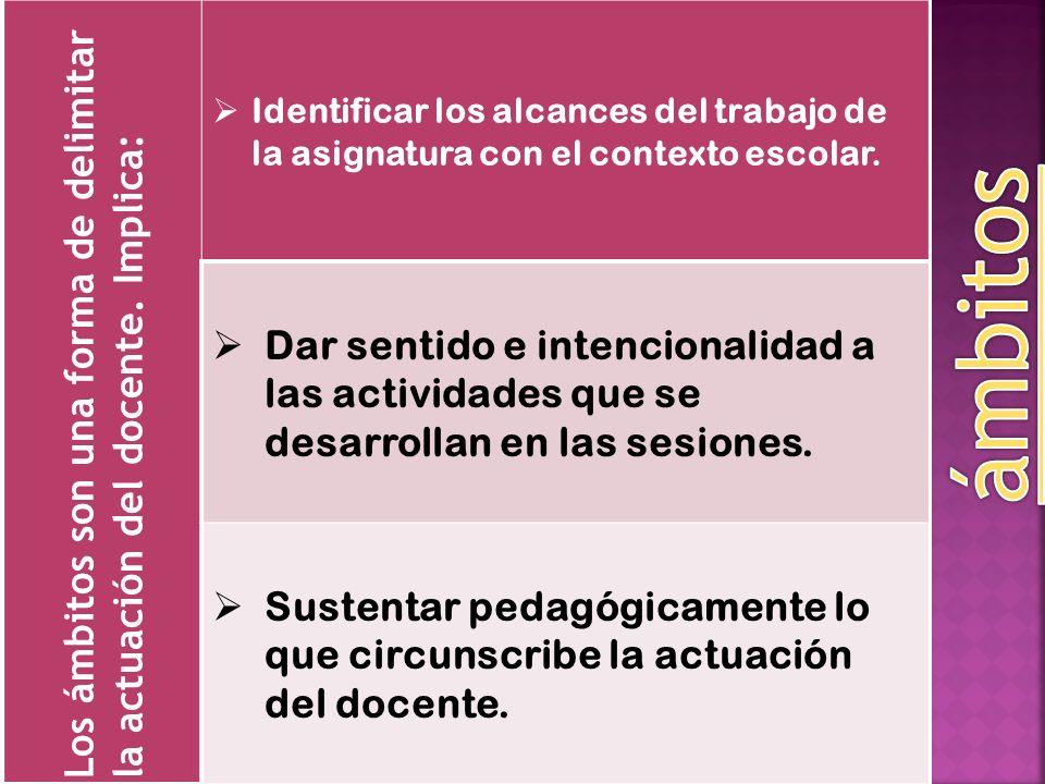 Los ámbitos son una forma de delimitar la actuación del docente. Implica: Identificar los alcances del trabajo de la asignatura con el contexto escola