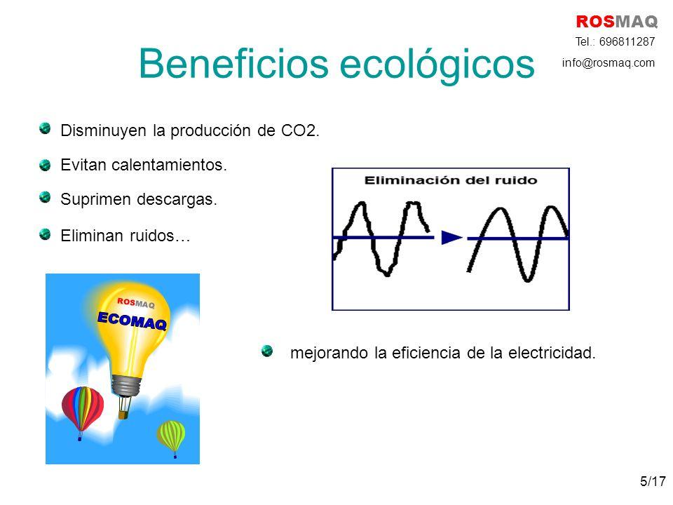 Beneficios ecológicos Disminuyen la producción de CO2. Evitan calentamientos. Suprimen descargas. Eliminan ruidos… mejorando la eficiencia de la elect