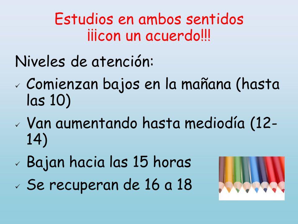 Estudios en ambos sentidos ¡¡¡con un acuerdo!!! Niveles de atención: Comienzan bajos en la mañana (hasta las 10) Van aumentando hasta mediodía (12- 14