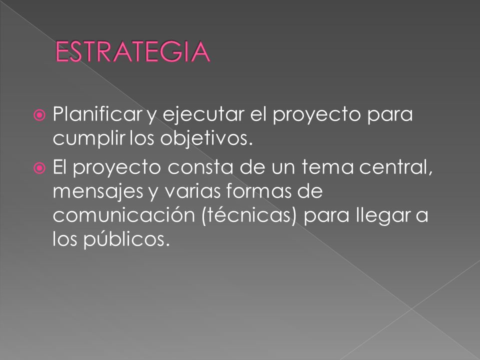 Planificar y ejecutar el proyecto para cumplir los objetivos.