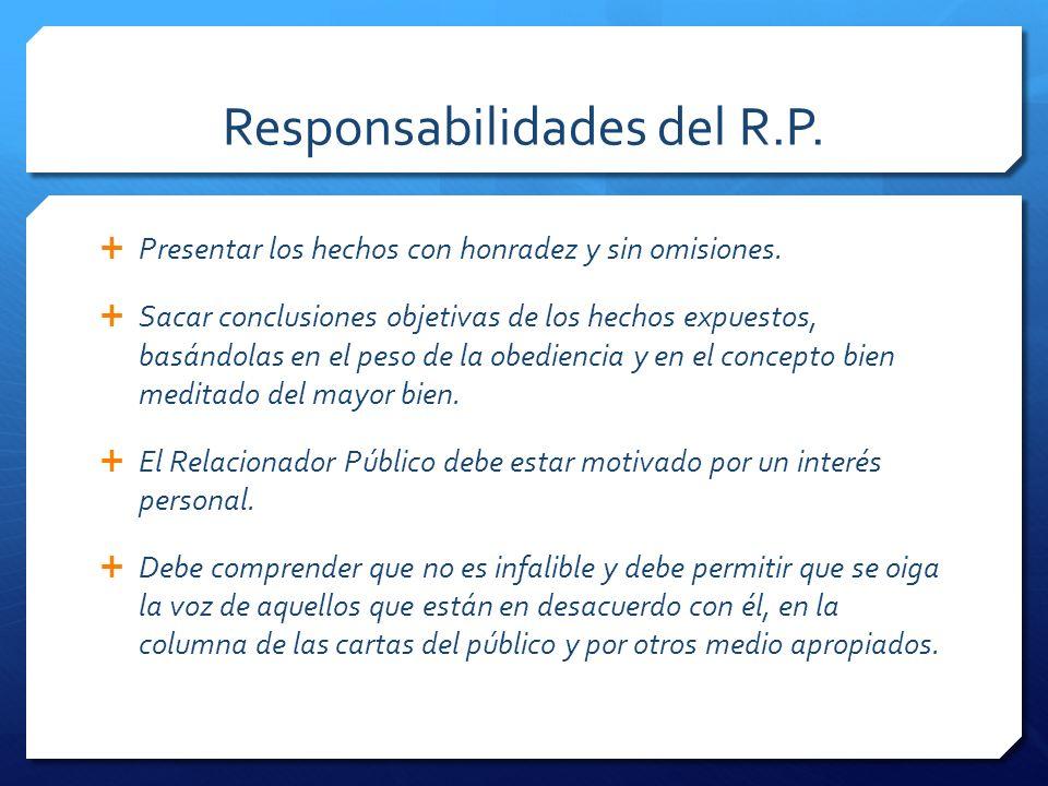 Responsabilidades del R.P.Presentar los hechos con honradez y sin omisiones.
