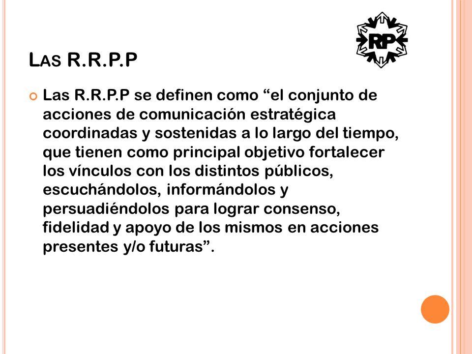 L AS R.R.P.P Las R.R.P.P se definen como el conjunto de acciones de comunicación estratégica coordinadas y sostenidas a lo largo del tiempo, que tiene