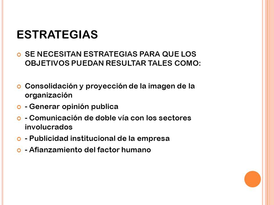ESTRATEGIAS SE NECESITAN ESTRATEGIAS PARA QUE LOS OBJETIVOS PUEDAN RESULTAR TALES COMO: Consolidación y proyección de la imagen de la organización - G
