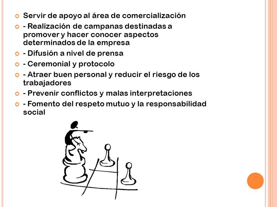 Servir de apoyo al área de comercialización - Realización de campanas destinadas a promover y hacer conocer aspectos determinados de la empresa - Difu