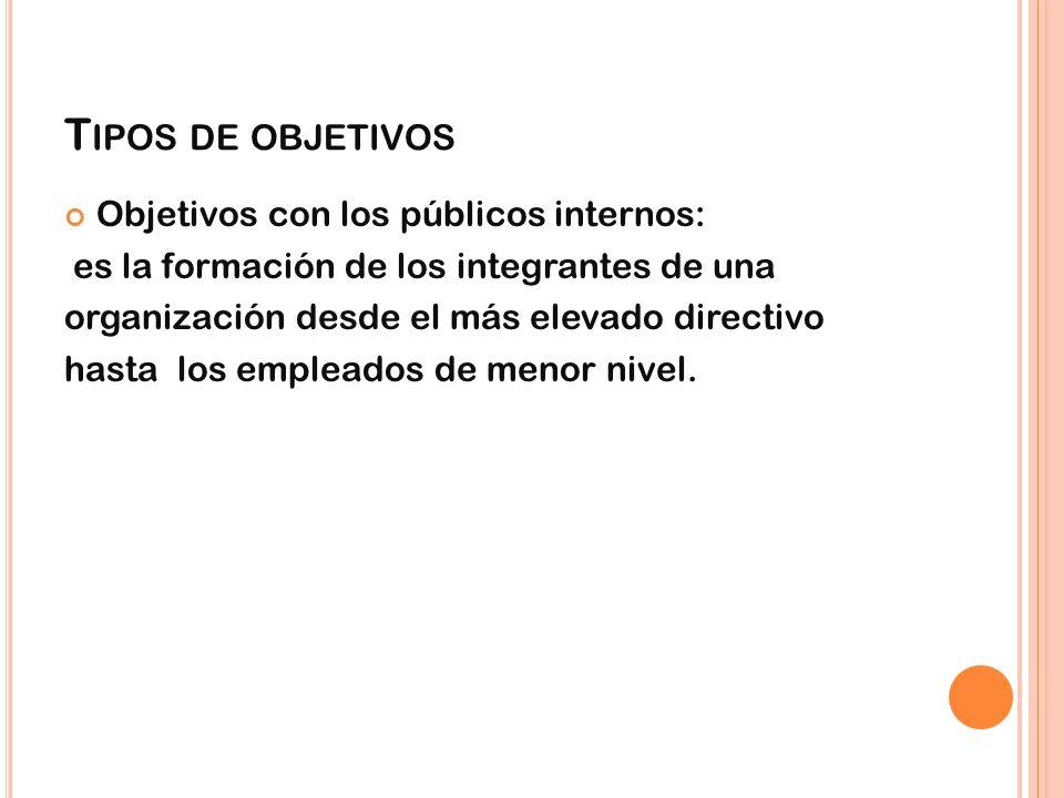 T IPOS DE OBJETIVOS Objetivos con los públicos internos: es la formación de los integrantes de una organización desde el más elevado directivo hasta l