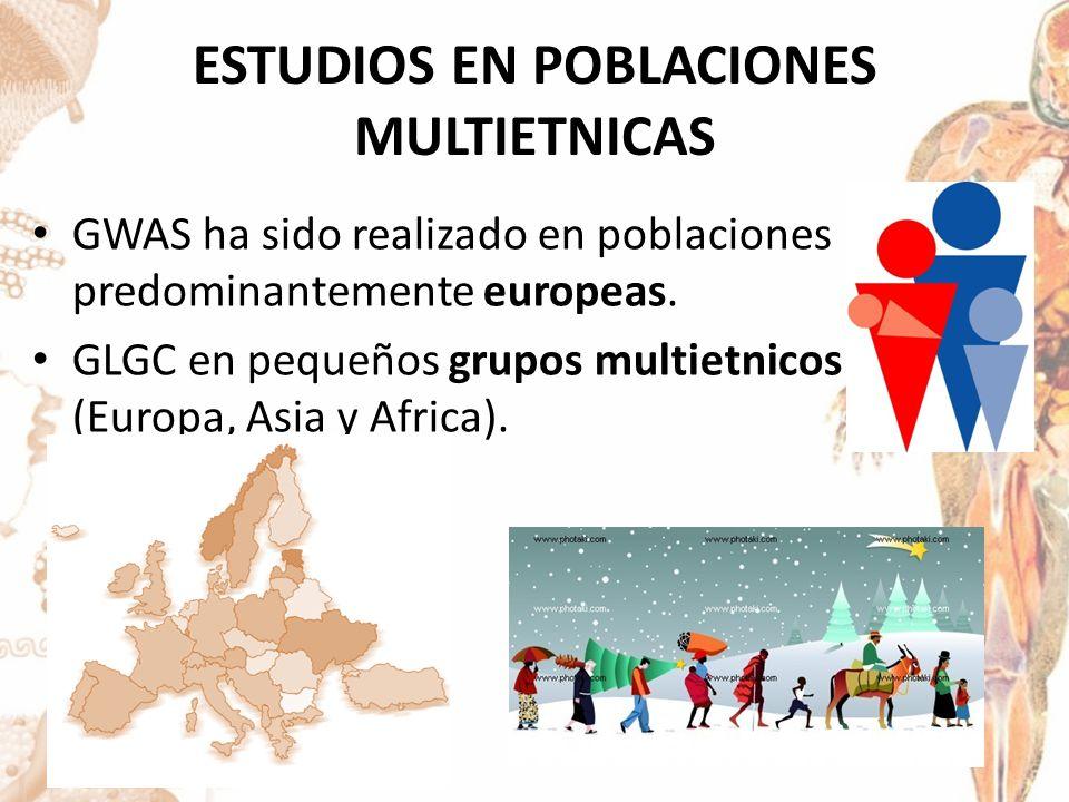 ESTUDIOS EN POBLACIONES MULTIETNICAS GWAS ha sido realizado en poblaciones predominantemente europeas.
