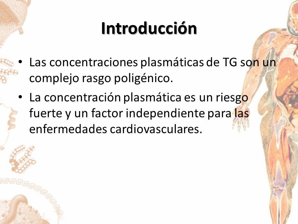 Conclusión Una comprensión mas completa de las variantes de los genes que modulan los TG plasmáticos permitirá el desarrollo de marcadores de riesgo, diagnostico, pronostico y la respuesta a los tratamientos y podría ayudar a especificar las nuevas orientaciones de las interacciones terapéuticas.