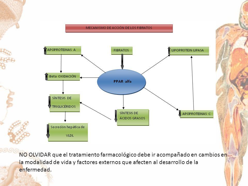 NO OLVIDAR que el tratamiento farmacológico debe ir acompañado en cambios en la modalidad de vida y factores externos que afecten al desarrollo de la enfermedad.