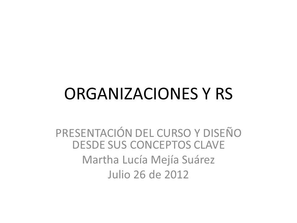 ORGANIZACIONES Y RS PRESENTACIÓN DEL CURSO Y DISEÑO DESDE SUS CONCEPTOS CLAVE Martha Lucía Mejía Suárez Julio 26 de 2012