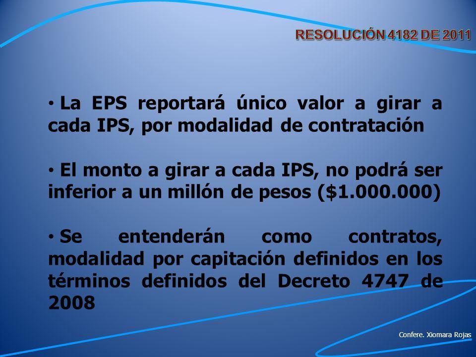 La EPS reportará único valor a girar a cada IPS, por modalidad de contratación El monto a girar a cada IPS, no podrá ser inferior a un millón de pesos
