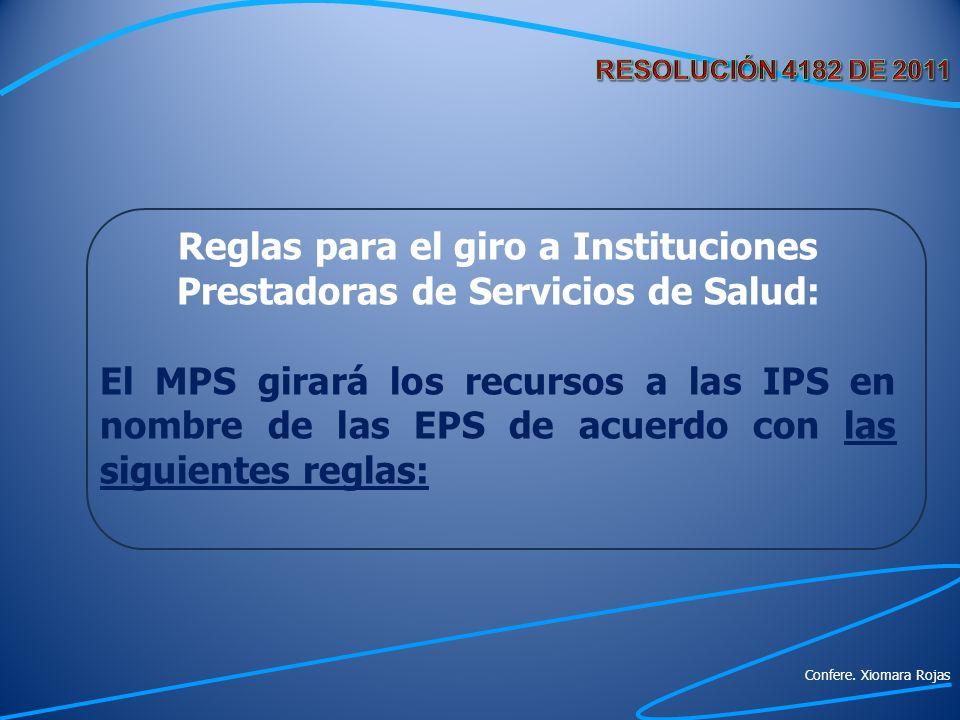 Reglas para el giro a Instituciones Prestadoras de Servicios de Salud: El MPS girará los recursos a las IPS en nombre de las EPS de acuerdo con las si