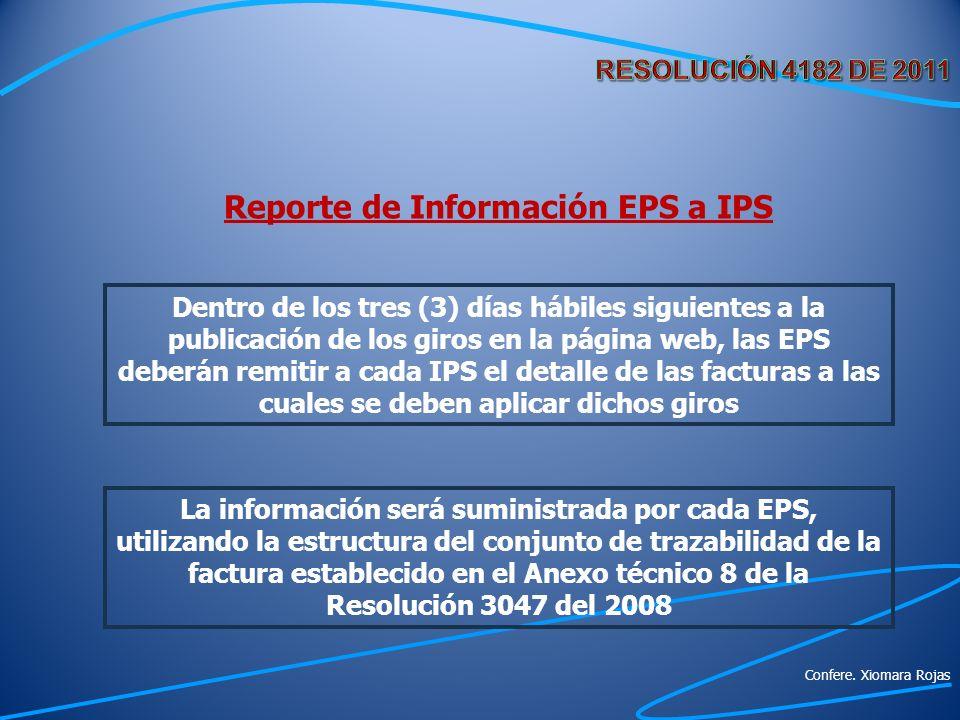 Reporte de Información EPS a IPS Dentro de los tres (3) días hábiles siguientes a la publicación de los giros en la página web, las EPS deberán remiti