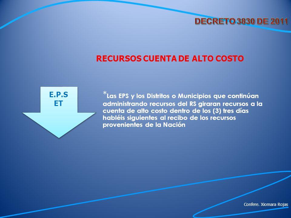 RECURSOS CUENTA DE ALTO COSTO * Las EPS y los Distritos o Municipios que continúan administrando recursos del RS giraran recursos a la cuenta de alto