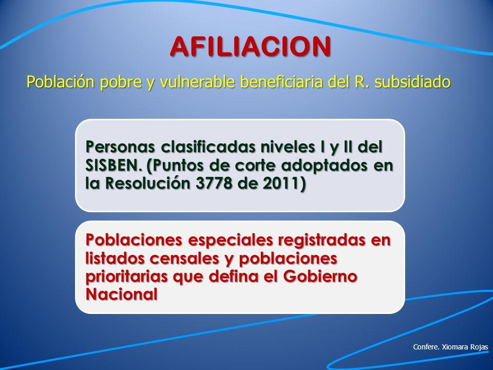 AFILIACION Población pobre y vulnerable beneficiaria del R. subsidiado Personas clasificadas niveles I y II del SISBEN. (Puntos de corte adoptados en