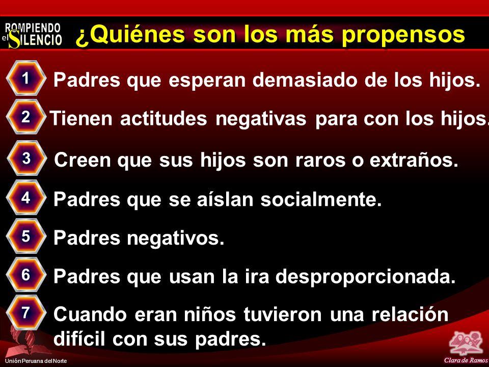 Unión Peruana del Norte ¿Quiénes son los más propensos Padres que esperan demasiado de los hijos. 1 Creen que sus hijos son raros o extraños. 3 Tienen