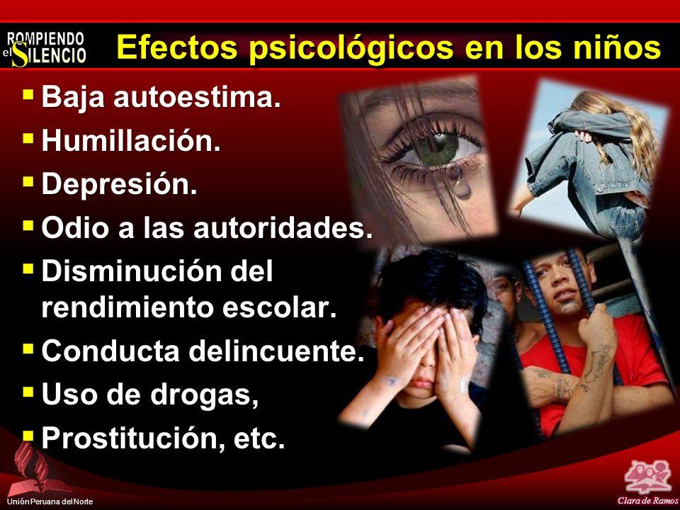 Unión Peruana del Norte Efectos psicológicos en los niños Baja autoestima. Baja autoestima. Humillación. Humillación. Depresión. Depresión. Odio a las