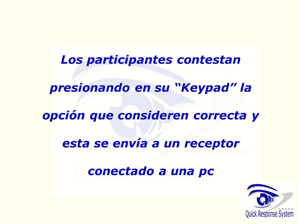 Los participantes contestan presionando en su Keypad la opción que consideren correcta y esta se envía a un receptor conectado a una pc