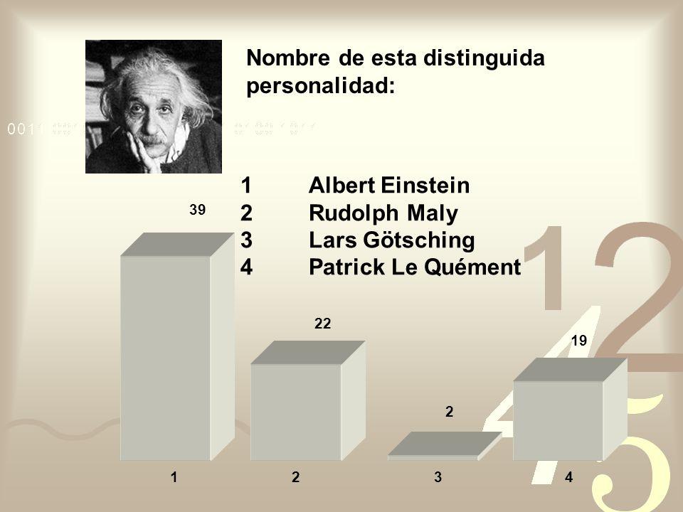 Nombre de esta distinguida personalidad: 1Albert Einstein 2Rudolph Maly 3Lars Götsching 4Patrick Le Quément 19 22 39 4213 2