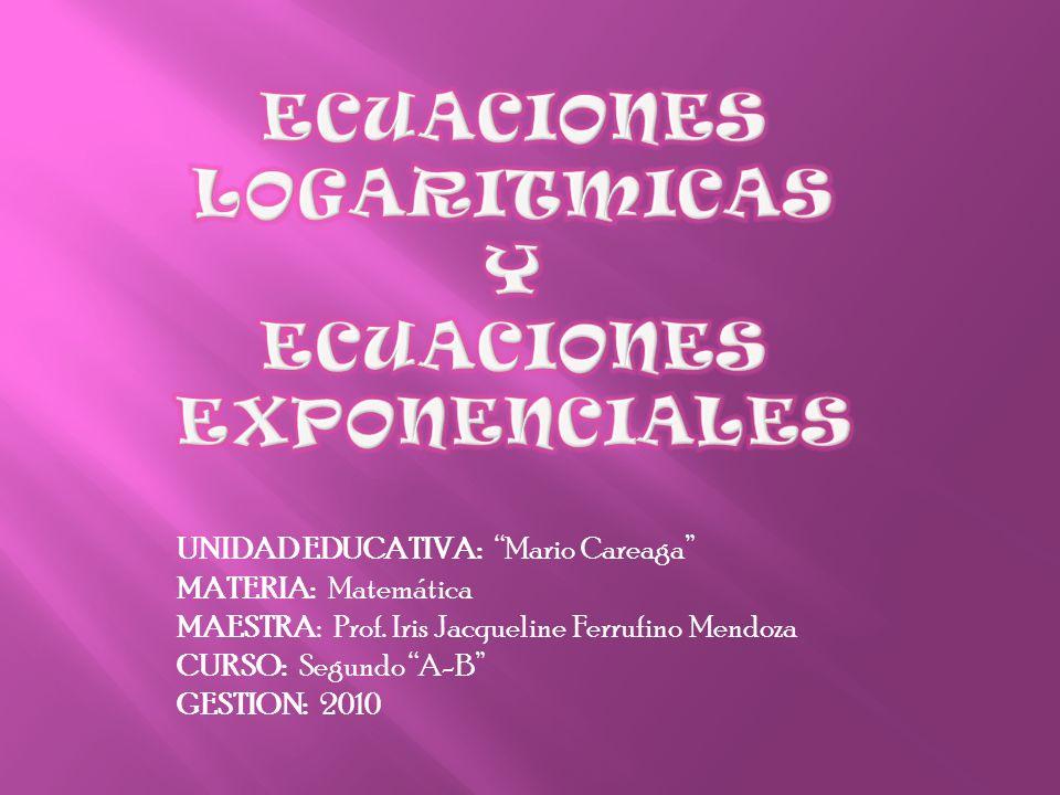 UNIDAD EDUCATIVA: Mario Careaga MATERIA: Matemática MAESTRA: Prof. Iris Jacqueline Ferrufino Mendoza CURSO: Segundo A-B GESTION: 2010