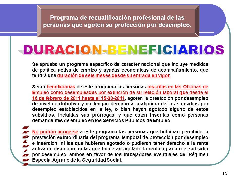 15 Programa de recualificación profesional de las personas que agoten su protección por desempleo. Se aprueba un programa específico de carácter nacio