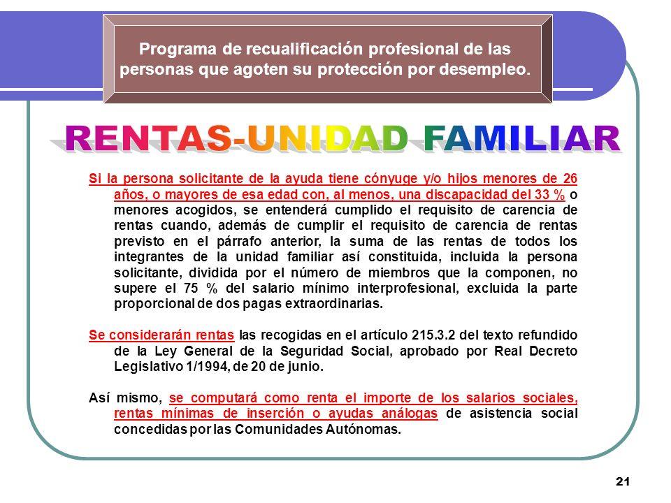 21 Programa de recualificación profesional de las personas que agoten su protección por desempleo. Si la persona solicitante de la ayuda tiene cónyuge