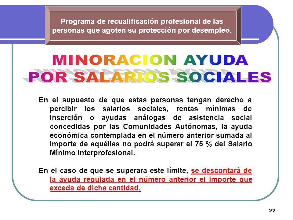 22 Programa de recualificación profesional de las personas que agoten su protección por desempleo. En el supuesto de que estas personas tengan derecho