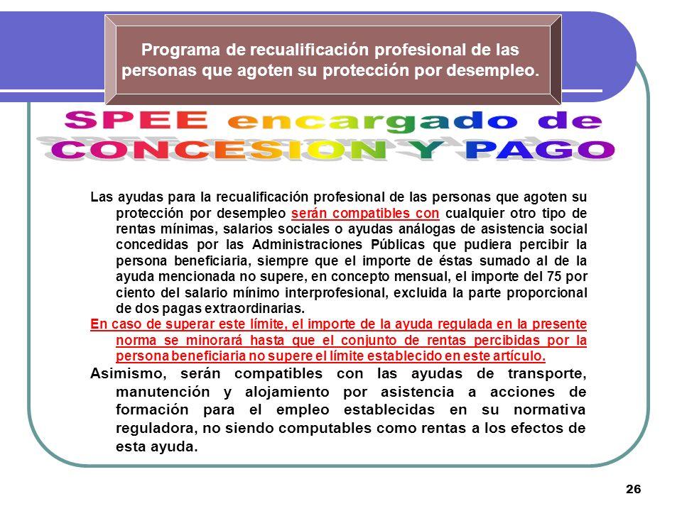 26 Programa de recualificación profesional de las personas que agoten su protección por desempleo. Las ayudas para la recualificación profesional de l