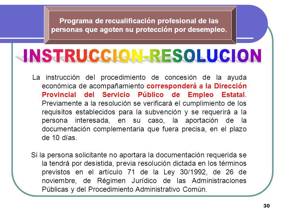 30 Programa de recualificación profesional de las personas que agoten su protección por desempleo. La instrucción del procedimiento de concesión de la