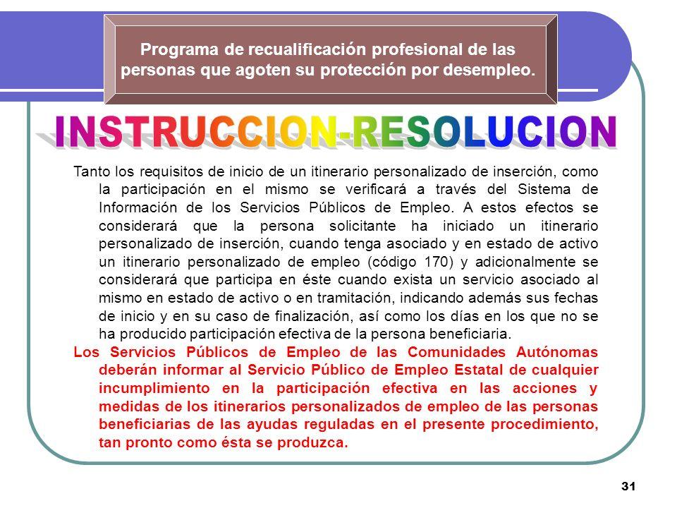 31 Programa de recualificación profesional de las personas que agoten su protección por desempleo. Tanto los requisitos de inicio de un itinerario per