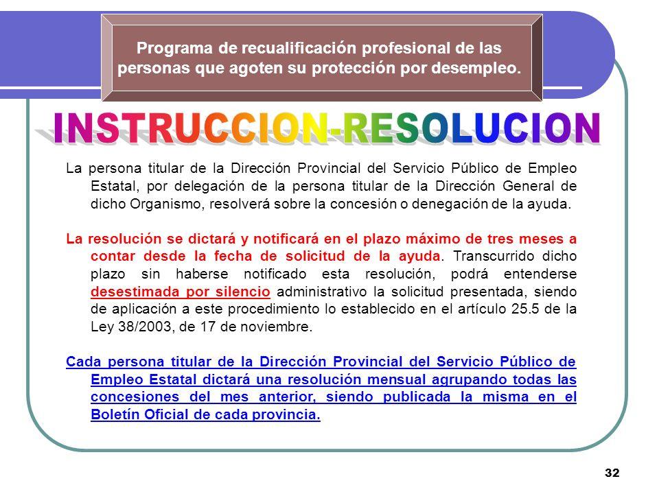 32 Programa de recualificación profesional de las personas que agoten su protección por desempleo. La persona titular de la Dirección Provincial del S