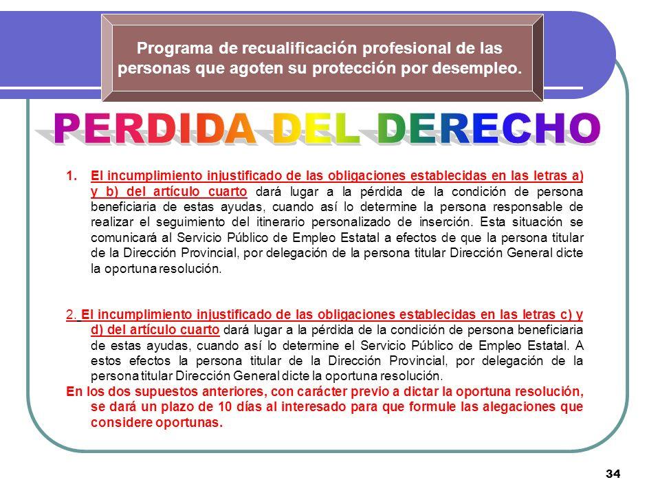 34 Programa de recualificación profesional de las personas que agoten su protección por desempleo. 1.El incumplimiento injustificado de las obligacion