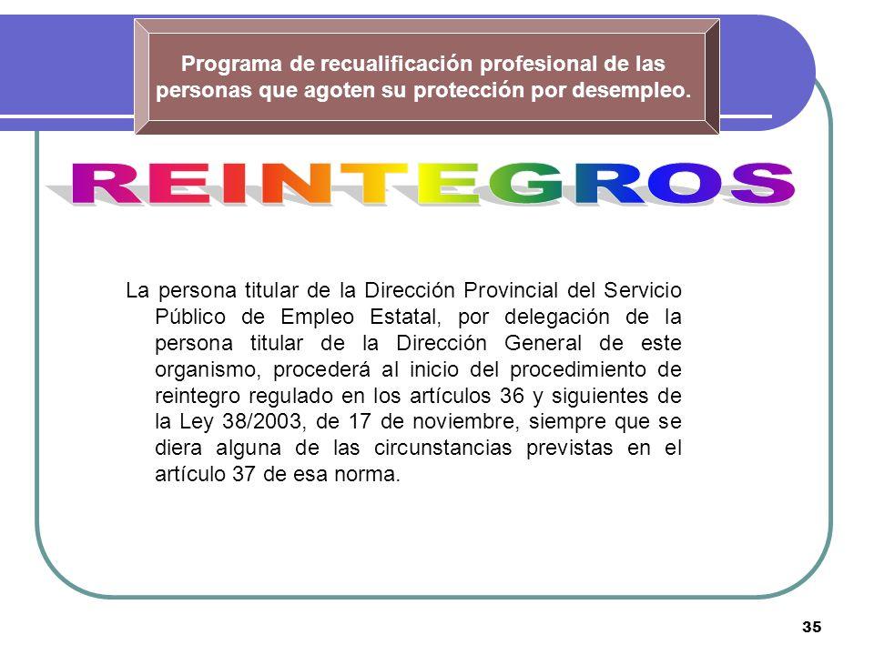 35 Programa de recualificación profesional de las personas que agoten su protección por desempleo. La persona titular de la Dirección Provincial del S