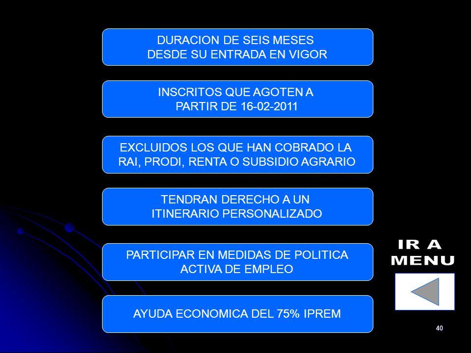 40 DURACION DE SEIS MESES DESDE SU ENTRADA EN VIGOR INSCRITOS QUE AGOTEN A PARTIR DE 16-02-2011 EXCLUIDOS LOS QUE HAN COBRADO LA RAI, PRODI, RENTA O SUBSIDIO AGRARIO TENDRAN DERECHO A UN ITINERARIO PERSONALIZADO PARTICIPAR EN MEDIDAS DE POLITICA ACTIVA DE EMPLEO AYUDA ECONOMICA DEL 75% IPREM