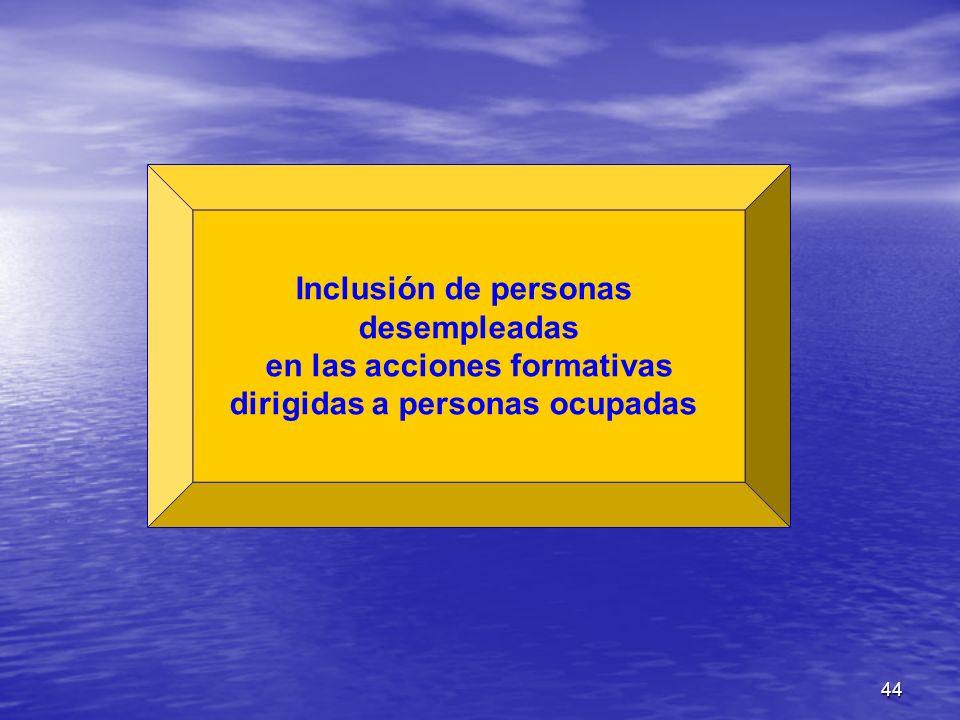 44 Inclusión de personas desempleadas en las acciones formativas dirigidas a personas ocupadas