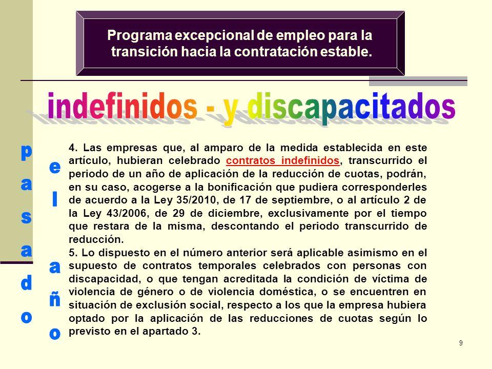 9 Programa excepcional de empleo para la transición hacia la contratación estable. 4. Las empresas que, al amparo de la medida establecida en este art