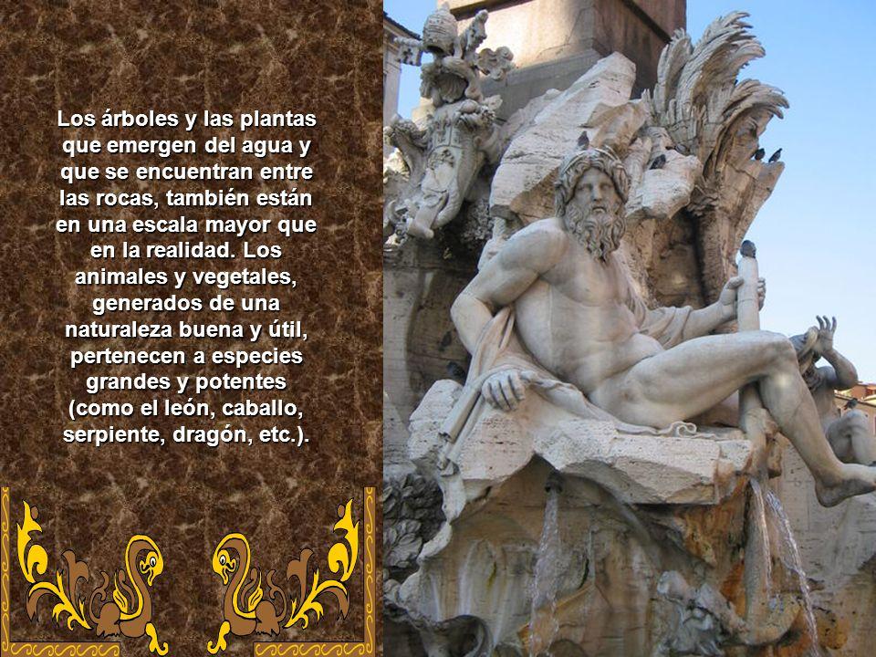 La escultura de la Fuente de los Cuatro Ríos, se encuentra en la Piazza Navona de Roma. Se compone de una base formada de una gran piscina elíptica, c