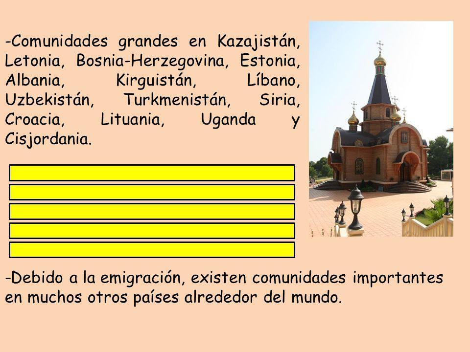 -Debido a la emigración, existen comunidades importantes en muchos otros países alrededor del mundo. -Comunidades grandes en Kazajistán, Letonia, Bosn