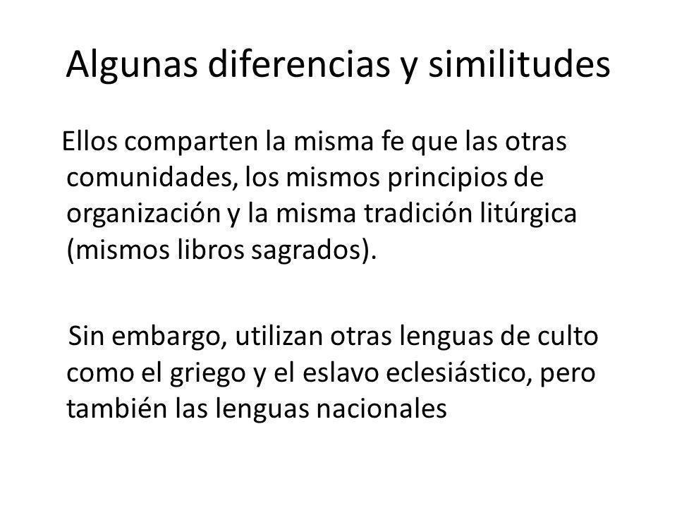Algunas diferencias y similitudes Ellos comparten la misma fe que las otras comunidades, los mismos principios de organización y la misma tradición li
